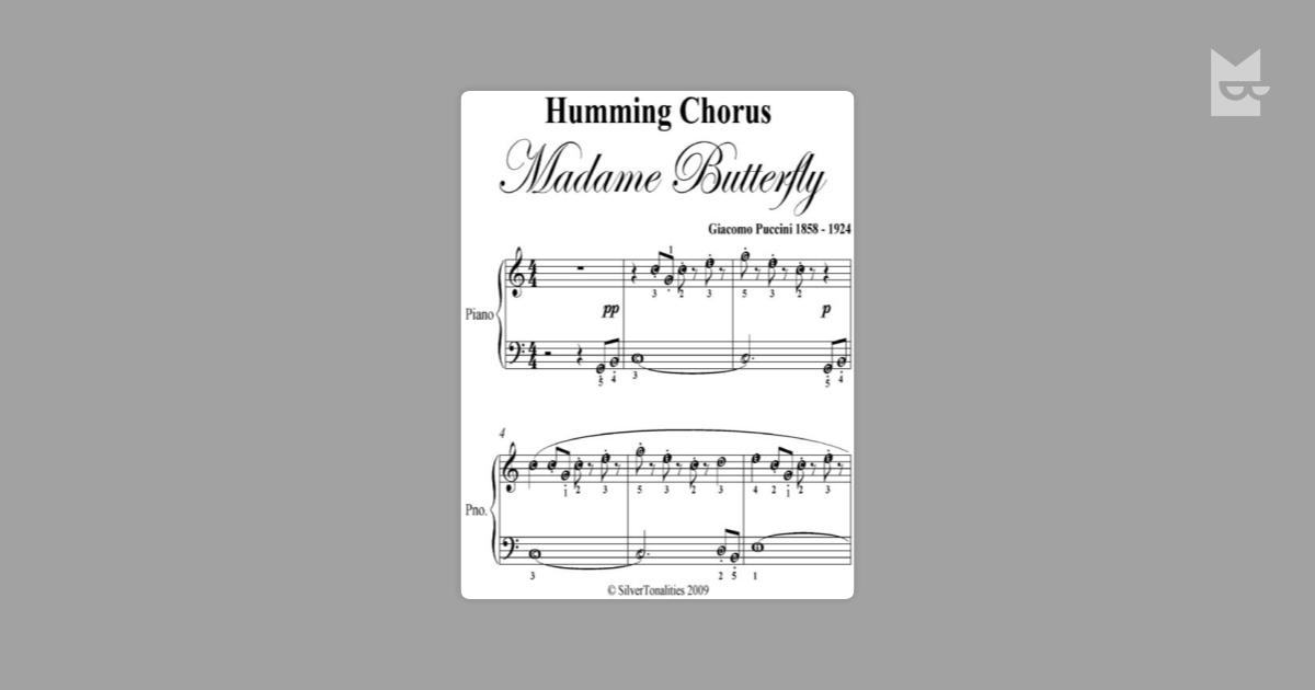 Humming Chorus Madame Butterfly Easy Piano Sheet Music by