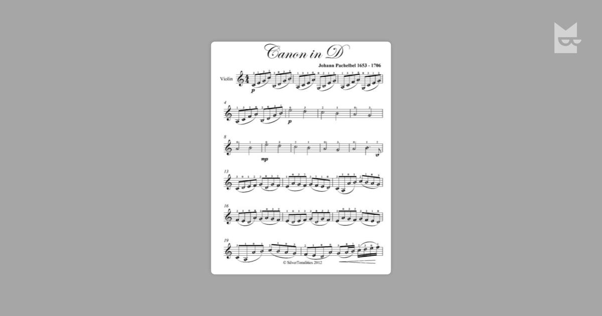 Canon in D Easy Violin Sheet Music by Johann Pachelbel Read