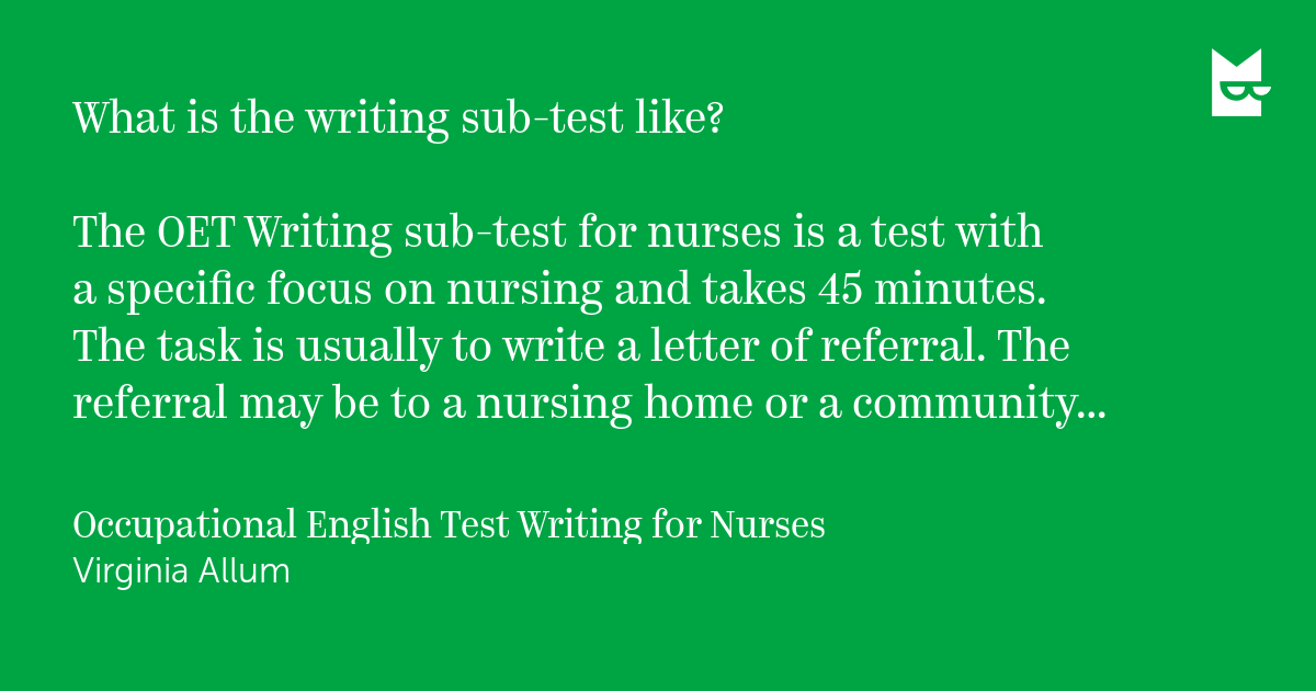 Jo Jim: quote from Occupational English Test Writing for Nurses